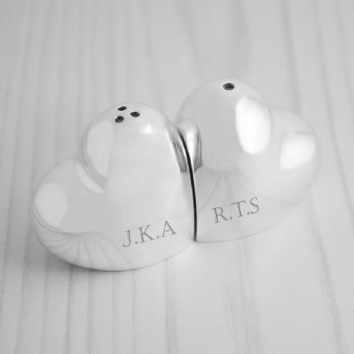 Personalised Silver Plated Heart Salt and Pepper Shaker Set